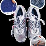 Epäillyn rikoksentekijän kengille tehtiin verijälkitutkimus. Veriroiskeet on merkitty tekijän jalkineisiin nuppineuloilla. Kokenut verijälkitutkija voi tehdä niistä päätelmiä muun muassa epäillyn sijainnista uhriin nähden.